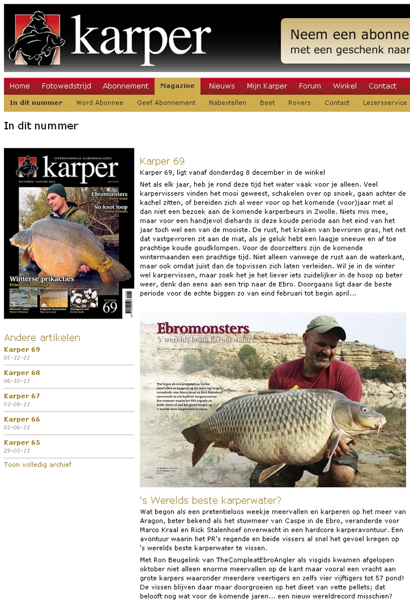 Website Karper Magazine Dec 2011